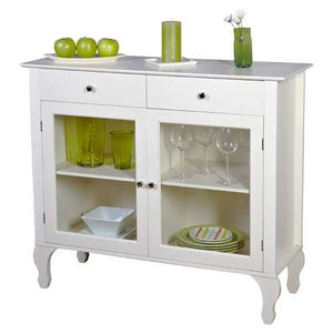 Antique White Sideboard Buffet Console Table with Glass Doors