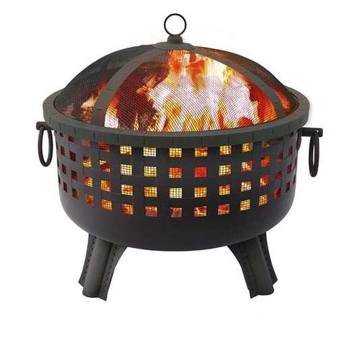 Sturdy 23.5-inch Black Steel Fire Pit with Stand and Spark Screen
