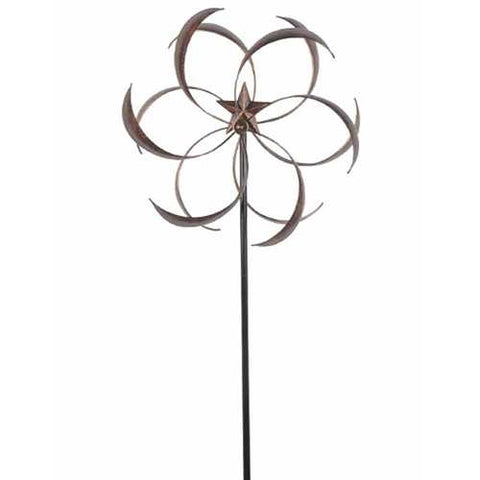 Outdoor Powder Coated Metal Flower Star Wind Spinner with Stake 76-inch