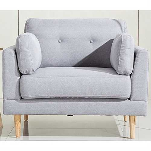 Modern Light Grey Linen Upholstered Armchair with Mid-Century Style Wood Legs
