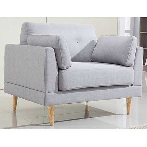 Image of Modern Light Grey Linen Upholstered Armchair with Mid-Century Style Wood Legs