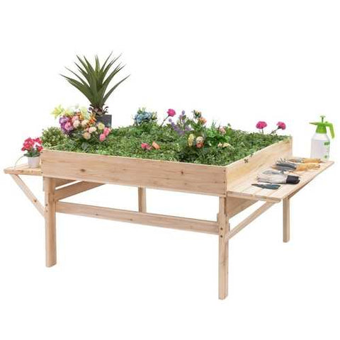 Image of Solid Fir Wood Large 6 ft x 4 ft Elevated Garden Bed Planter