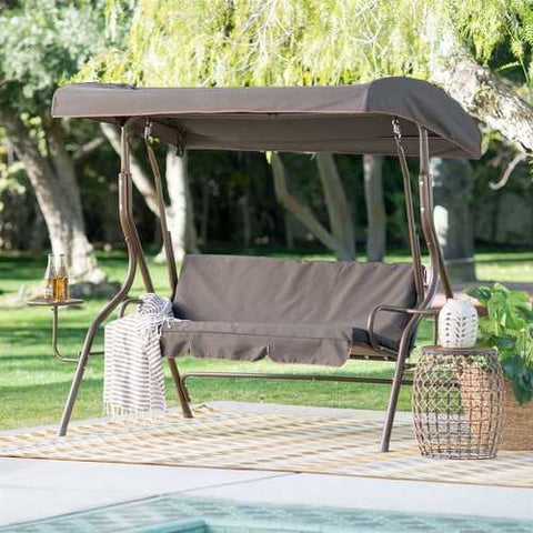 Image of Outdoor Patio 2-Person Porch Swing with Adjustable Tilt Canopy and Side Table