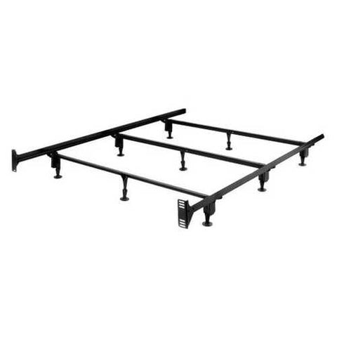 Image of King size Sturdy Metal Bed Frame with 9-Legs and Headboard Brackets