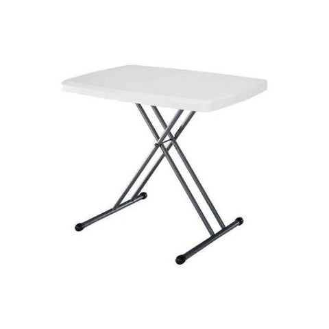 Image of Adjustable Height White Plastic Top Folding Table with Sturdy Steel Metal Legs