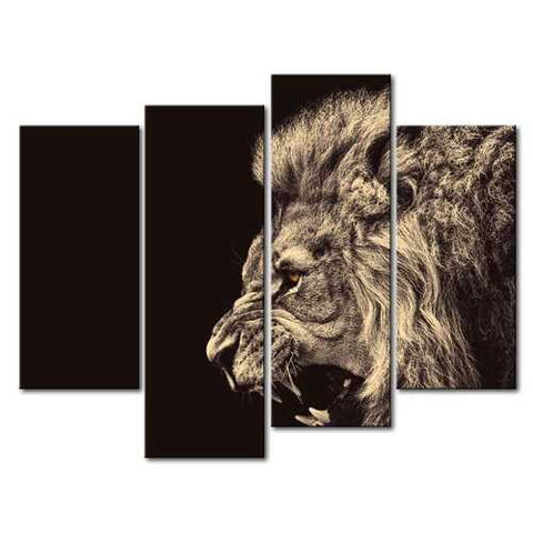 Image of Roaring Lion Big Kitty 4-Panel Wall Art Picture Print on Canvas