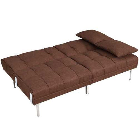 Modern Brown Linen Futon Sofa Bed Couch with Metal Legs