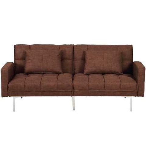 Image of Modern Brown Linen Futon Sofa Bed Couch with Metal Legs