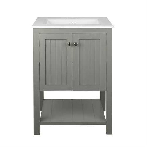 Grey 24 x 22 inch Bathroom Vanity Cabinet with White Ceramic Sink