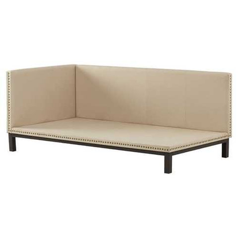 Tan Linen Fabric Upholstered Mid-Century Modern Daybed
