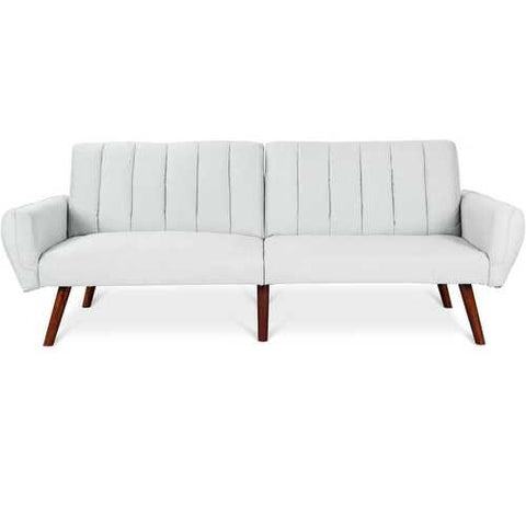 Image of Modern Mid-Century Grey Linen Split-Back Futon Sofa Bed Couch