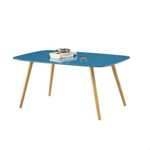 Modern Mid-Century Blue Top Coffee Table with Solid Wood Legs