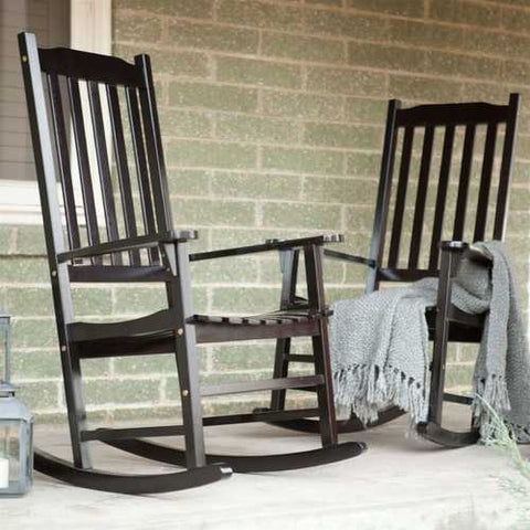 Image of Set of 2 - Indoor/Outdoor Patio Porch Black Slat Rocking Chairs