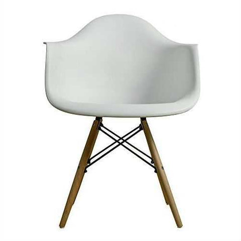 Image of Modern Ergonomic Dining Chair with Arms in White