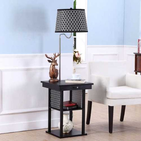 2-in1 Floor Lamp Side Table with Patterned Shade and USB Ports