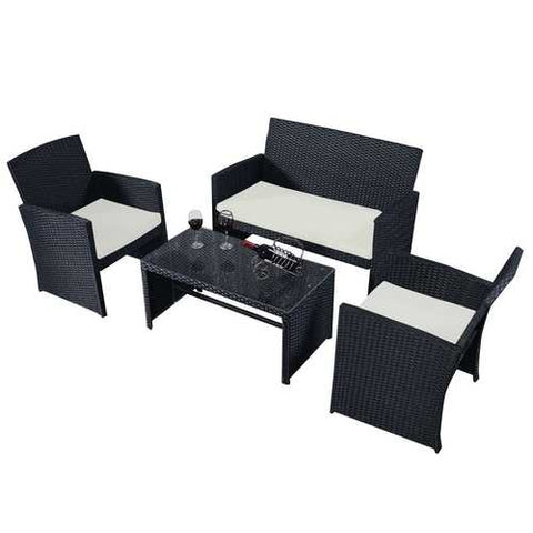 Image of Modern 4-Piece Outdoor Black PE Rattan Patio Furniture Set