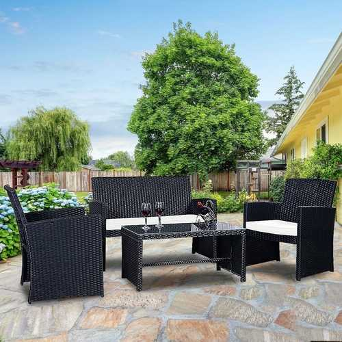 Modern 4-Piece Outdoor Black PE Rattan Patio Furniture Set