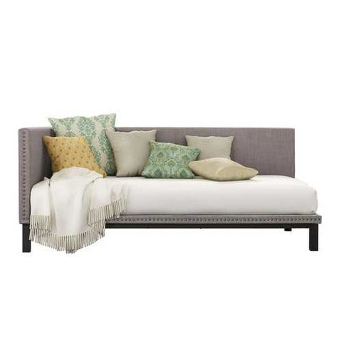 Image of Grey Linen Fabric Upholstered Mid-Century Modern Daybed