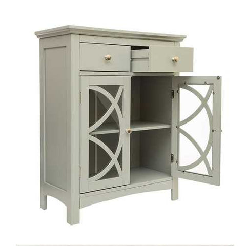 Modern 32-inch Bathroom Floor Cabinet with Glass Doors in Gray Wood Finish