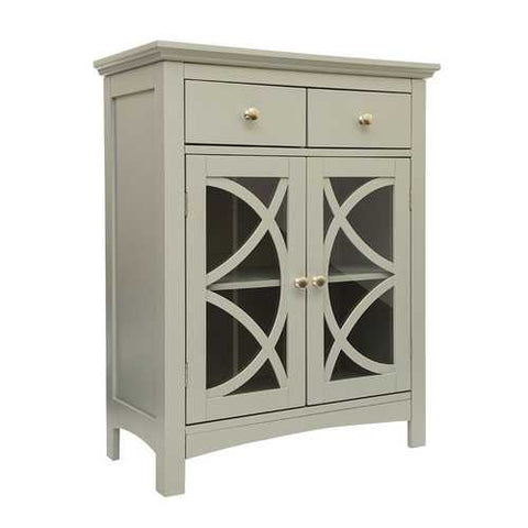 Image of Modern 32-inch Bathroom Floor Cabinet with Glass Doors in Gray Wood Finish