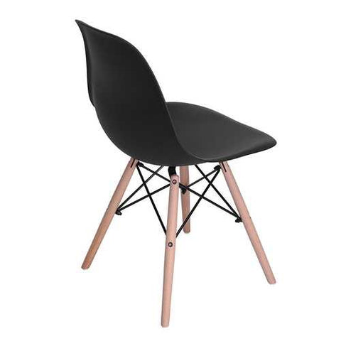 Image of Set of 4 Modern Armless Dining Chairs in Black with Wood Legs