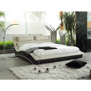 King size Modern Cream Black Faux Leather Upholstered Platform Bed with Headboard