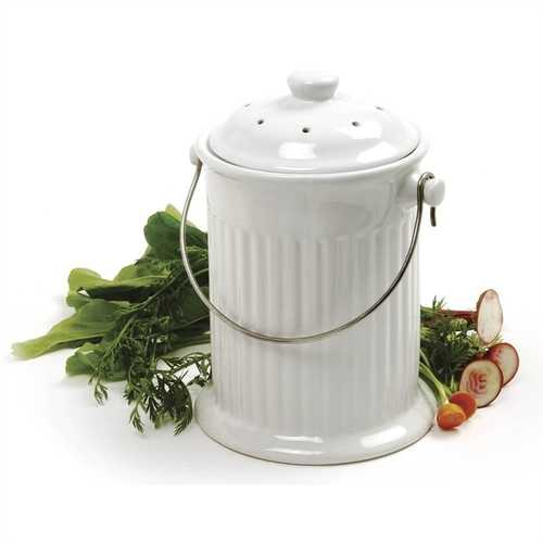 White Ceramic Compost Keeper/Bin with Odor Preventing Charcoal Filter