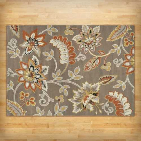 "Image of 3'3"" x 5'2"" Tufted Cotton Area Rug with Yellow Orange Beige Brown Floral Pattern"