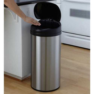 Round Stainless Steel 13-Gallon Touchless Kitchen Trash Can