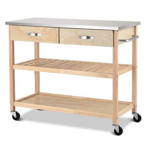 Natural Wood Modern Kitchen Island Cart with Stainless Steel Top