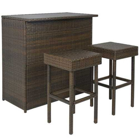 Outdoor 3-Piece PE Wicker Bar Set with Table and Stools