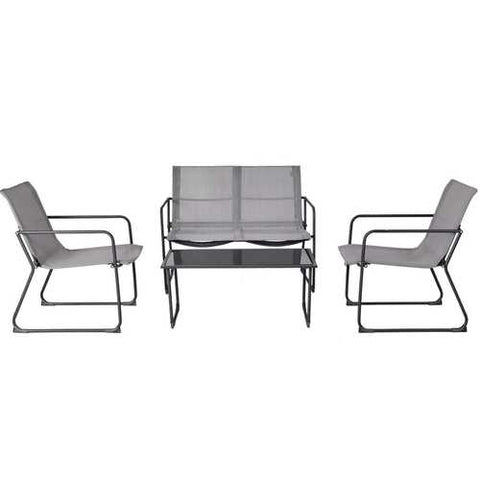 Image of Outdoor Black Steel Frame 4-Piece Patio Furniture Set