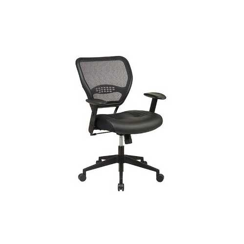 Air Grid Mesh Back Managers Office Chair with Black Leather Seat