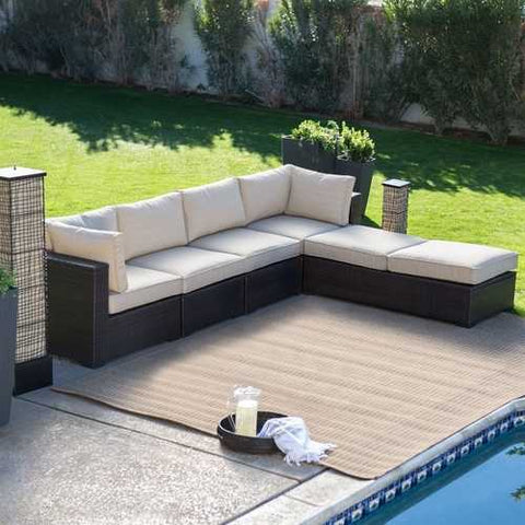 Outdoor Wicker Resin 6-Piece Sectional Sofa Patio Furniture Conversation Set with Tan Stripe Cushions