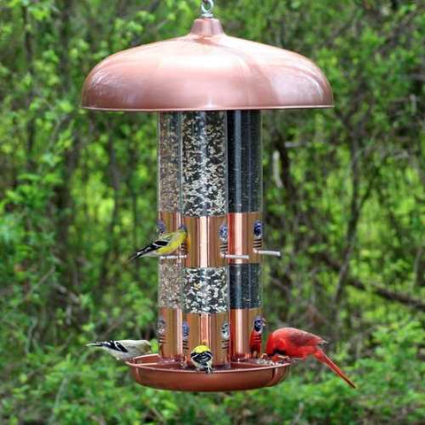 Image of Copper Finish Triple Tube Bird Feeder