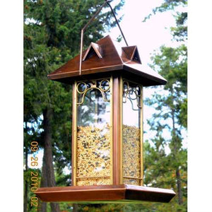 Metal and Glass Bird Feeder with Antique Copper Finish