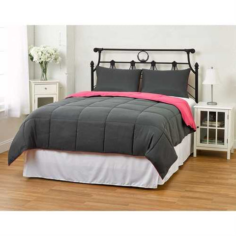 Image of Twin/Twin XL size 2-Piece Grey Pink Microfiber Comforter Set with 1 Sham