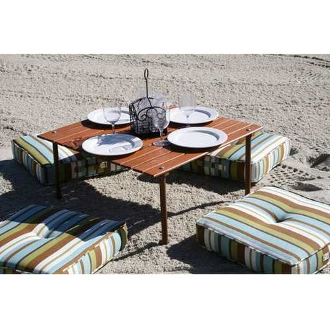 Portable Patio Table with Brown Solid Wood Top and Carry Bag