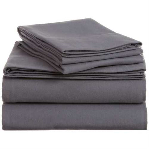 Image of Queen size 100-Percent Cotton Velvet Flannel Sheet Set in Graphite