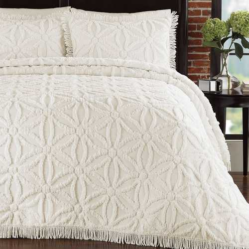 Queen Cotton Chenille Bedspread with Flower of Life Pattern and Fringe Edge in Ivory