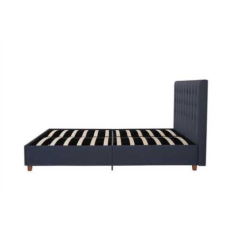 Image of Queen Blue Linen Upholstered Platform Bed with Headboard