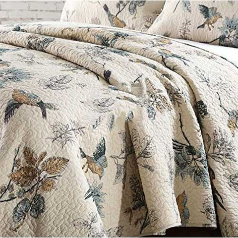 Queen size 3-Piece Quilt Bedspread Set in 100-Percent Cotton with Floral Birds Pattern