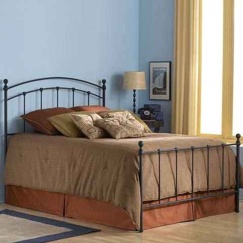 Queen size Complete Metal Bed Frame with Round Final Posts Headboard and Footboard