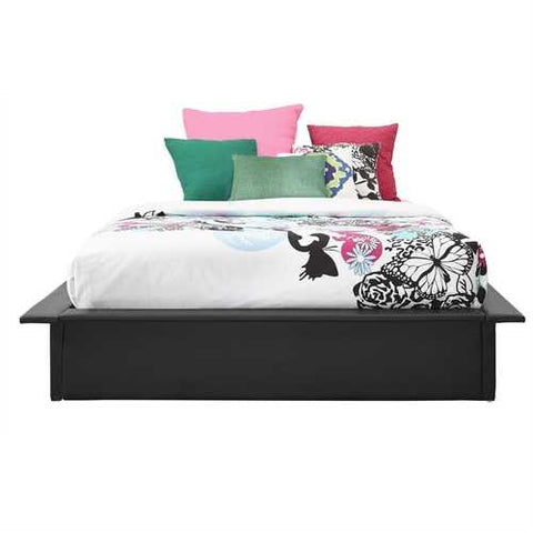 Queen size Modern Black Faux Leather Platform Bed Frame with Wood Mattress Support Slats