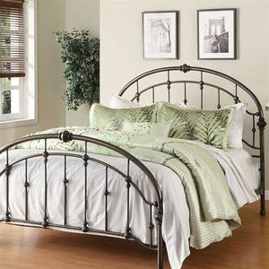 Queen size Metal Bed in Antique Bronze Pewter Finish with Headboard and Footboard