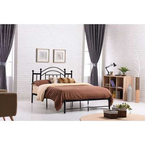 Queen size Black Metal Platform Bed Frame with Vintage Post Style Arch Headboard