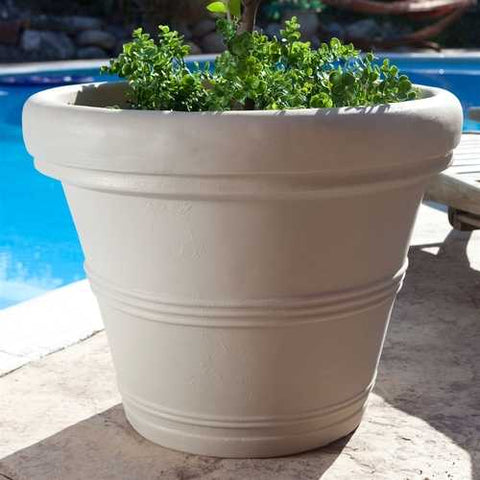 Image of Round 26-inch Outdoor Patio Planter for Garden Plants or Small Tree in Weathered Concrete