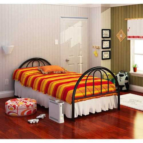 Image of Twin Black Metal Platform Bed Frame with Arch Headboard & Footboard