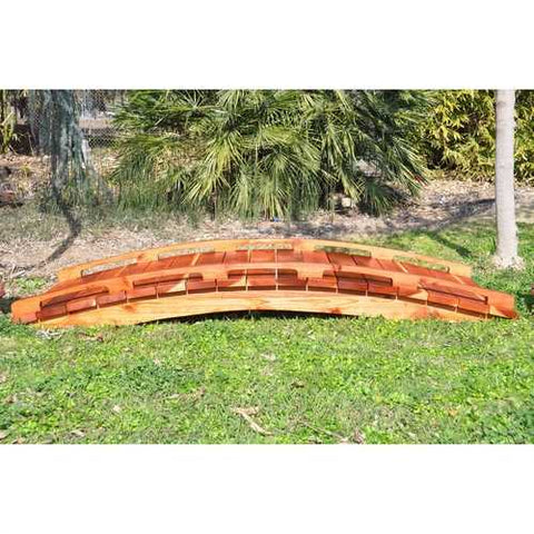 Image of Asian Style Outdoor Functional 6-Ft Wooden Garden Bridge in Sealed Redwood