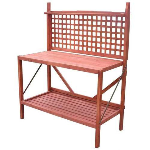Image of Outdoor Folding Wooden Potting Bench Garden Trellis with Storage Space